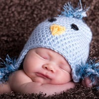 Fuzzy Blue Bird 0-3 Month Crochet Hat-- Perfect Spring Newborn Photo Prop--Halloween--So Sweet-- Available in all sizes