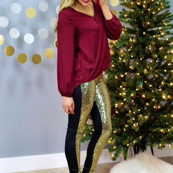 Two-Faced Sequin Leggings