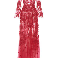Long Embroidered Tulle Dress with Flared Sleeves | Moda Operandi
