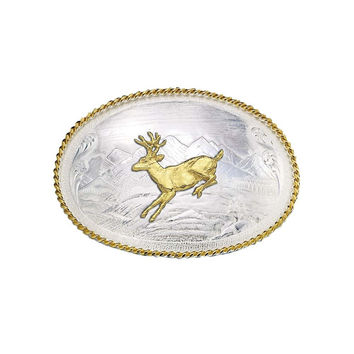 Montana Silversmiths Mountain Scene Western Belt Buckle with Running Deer - 9820-210