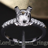7x9mm Oval Cut Solid 14K White Gold H/SI Diamonds Engagement Semi Mount Ring