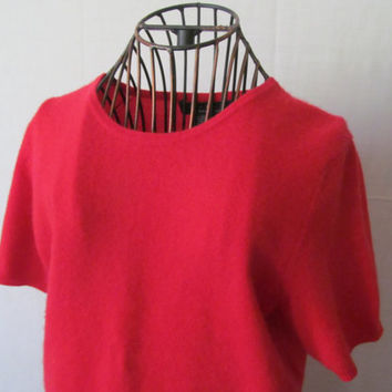 Minimalist Short Sleeve Red Blouse Red Retro Tops Red Womens M Shirt Red Tunic Medium Red Blouse