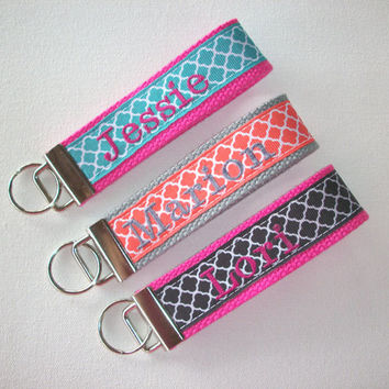 Key Fob Key FOB / KeyChain / Wristlet  -  Monogrammed - embroidered Design Your Own - trellis Quatrefoil