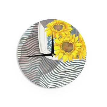 "S. Seema Z ""Finall Sunflower"" Yellow Flower Wall Clock"