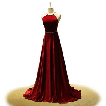 Real Photo A Line Velvet Burgundy Dress Halter Neck Bead Crystal Backless Long Red Evening Dress