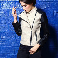 Leather Embroidered Zip Woolen Jacket