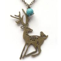 Antiqued Brass Deer Turquoise Necklace