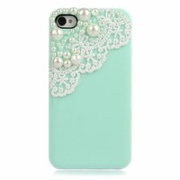 Lace with Pearl iPhone 4/4S Case by Hallomall