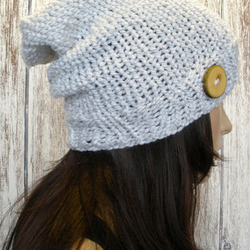 Slouchy Beanie Hat Winter Hand Knit White And Black Woodsy With A Wood Button