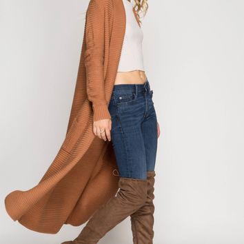 Sheridan Chunky Knit Extra Long Open Cardigan Sweater Duster