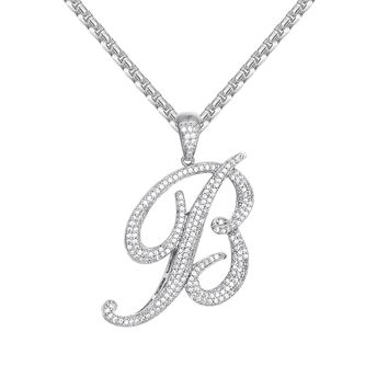 Custom Cursive Initial Letter B Iced Out Pendant Necklace