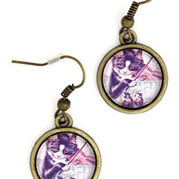Cat and the Fiddle Earrings Antique Gold Tone EL16 Art Dangle Earrings Fashion Jewelry