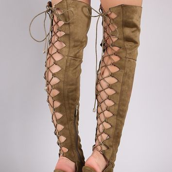 Liliana Corset Back Peep Toe Stiletto OTK Boots