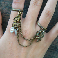 brass mermaid double chained ring slave ring mermaid sire starfish shells abalone beach summer hipster boho gypsy hippie and pirate style