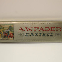 A.W. Faber Castell Tin Hinged Pencil Box with Graphics Vintage Art Storage