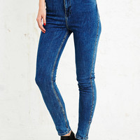 Light Before Dark Super High-Rise Skinny Jeans in Blue - Urban Outfitters