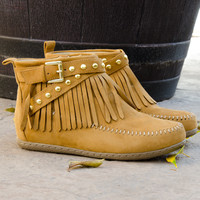 Fringe Suede Moccasin Ankle Booties