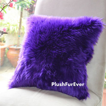 "17""x17"" Purple Luxury Shaggy Fur Pillows Faux Fake Fur Pillow (INSERT INCLUDED) Bedding Sofa Pillows decor plush pillows"