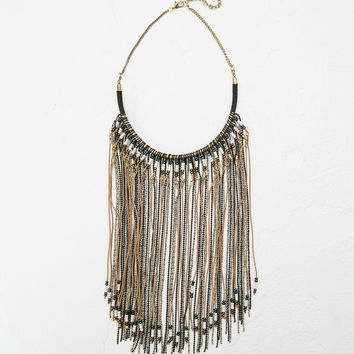 Fringe and beads necklace - Accessories - Bershka Germany
