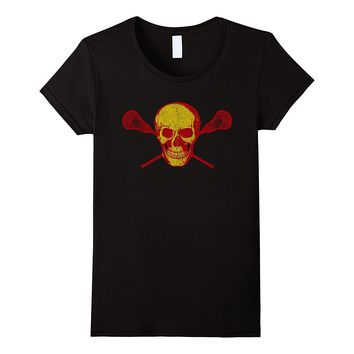 Lacrosse Skull T Shirt : Cool Red and Yellow Lax Tee