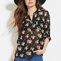 Semi-Sheer Floral Blouse