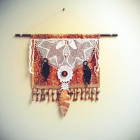 Tribal Wall Hanging Vintage Lace Livingroom Art Leather Feathers Yarn Fringe Southwestern Rust Tapestry Upcycled Textiles Rustic Home Decor