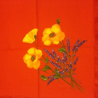 Yellow Poppies & Lavender on Red 18 x 18 Cotton Print Napkin