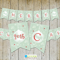 Christmas banner, Digital download Merry Christmas flag, Kraft holiday banner, DIY printable christmas party decoration / Instant download