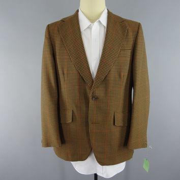 Vintage 1970s Blazer / 70s Jacket / 1970s Sports Coat / Brown Plaid Tartan / BG Conlon Hull England