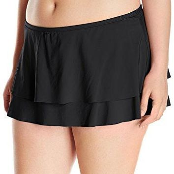 Cole of California Super Solids Plus Black Tiered Ruffle Skirt Bottom