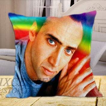 Nicolas Cage Rainbow on Square Pillow Cover