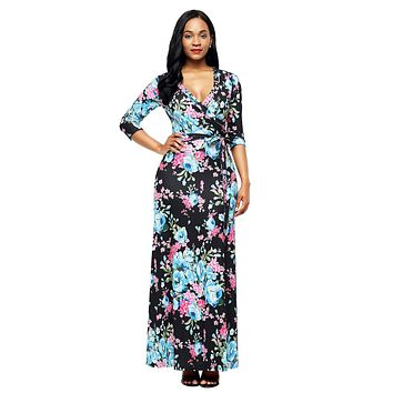 Chicloth Black Blue Floral Print Wrapped Long Boho Dress