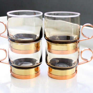 Vintage Beucler Smoked Amber Glass With Copper And Brass Handles Home Bar Retro Amber Mugs