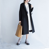 New Women's Trench Coat Spring and Autumn Casual Solid Color Adjustable Waist Turn-down Collar Long Trench Coat Plus Size Female