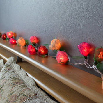 Rose String Lights Old Pink Tone For Bedroom and Wedding Decoration 20 Lights / Set