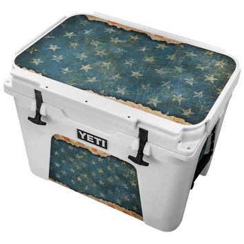 Vintage Ripped Paper American Flag Skin for the Yeti Tundra Cooler