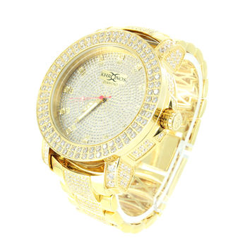 Mens Khronos Diamond Watch 14k Yellow Gold Finish