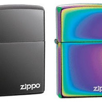 Zippo Lighter Set - Black Ice and Spectrum with Name Logo Pack of 2