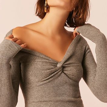 Heathered Twist-Front Top