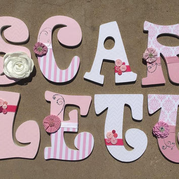 pink and dazzled wooden letters for a girls nursery or bedroom girls nursery decor