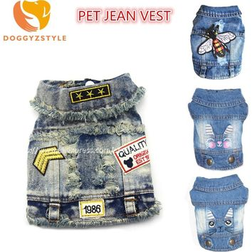 New Denim Pet Dog Clothes Cartoon Embroidered Hole Cowboy Vest Clothing For Small Dogs Puppy Jacket Chihuahua Doggies Costumes