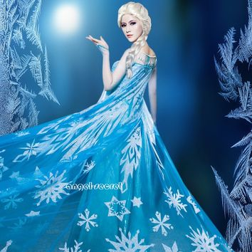 J710 Movies Frozen Snow Queen ELSA Cosplay Costume Dress tailor HANDMADE CUSTOM