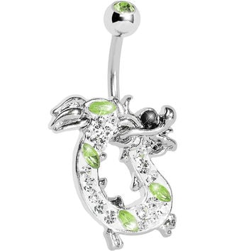 Peridot Green Gem Lucky Chinese Dragon Belly Ring