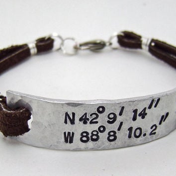 mens or womens latitude longitude bracelet, leather latitude longitude bracelet, custom leather bracelet
