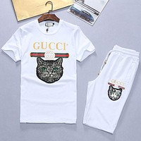 Gucci Summer Popular Women Men Casual Shirt Top Tee Shorts Set Two-Piece White I/A