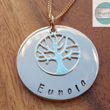 Personalised Family Name Necklace Rose Gold (IP) and Sterling Silver Tree of Life Charm Personalised Gift Made to Order. Hand Stamped