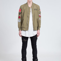 Multi-Patch Bomber Jacket in Olive