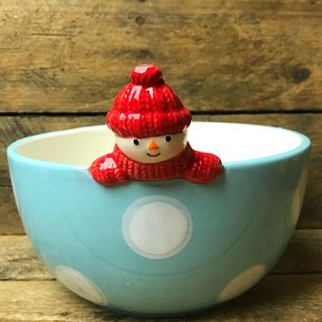 St Nicolas Square North Pole Blue and White Polka Dot Snowman Bowl