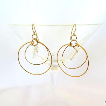 Gold Quartz Point Hoop Earrings, Gift for Her