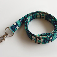 Tribal Lanyard / Tribal Print / Boho Keychain / Teal / Key Lanyard / ID Badge Holder / Fabric Lanyard / Bohemian / Navy Blue